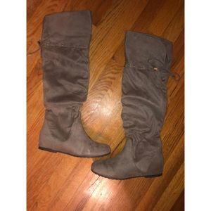 Aldo Phily Suede Stone over the knee boots